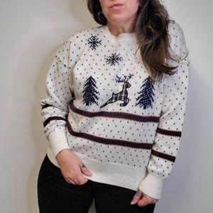 Vtg 80s Christmas Reindeer Sweater NORTHERN ISLES